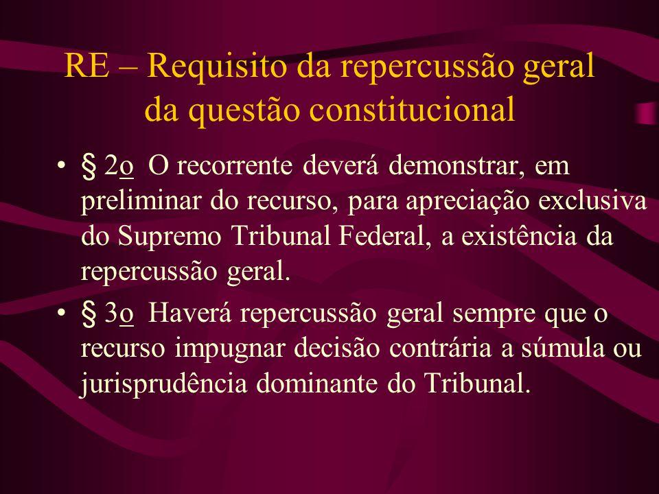 RE – Requisito da repercussão geral da questão constitucional •§ 2o O recorrente deverá demonstrar, em preliminar do recurso, para apreciação exclusiva do Supremo Tribunal Federal, a existência da repercussão geral.