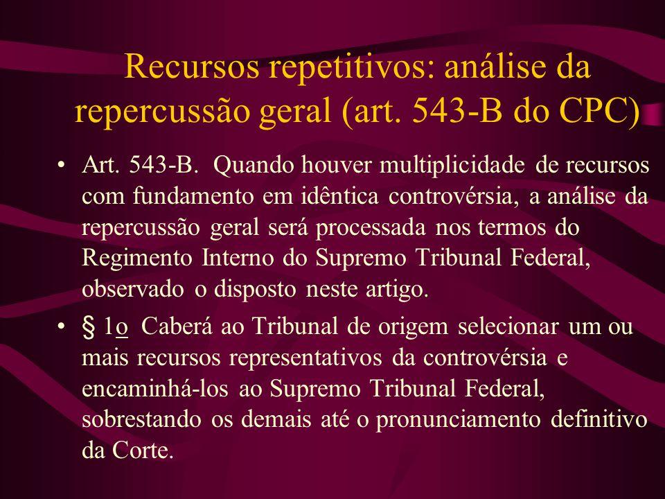 Recursos repetitivos: análise da repercussão geral (art.