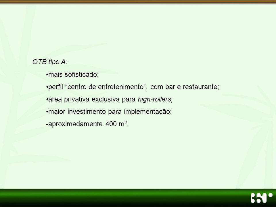 OTB tipo A: •mais sofisticado; •perfil centro de entretenimento , com bar e restaurante; •área privativa exclusiva para high-rollers; •maior investimento para implementação; -aproximadamente 400 m 2.