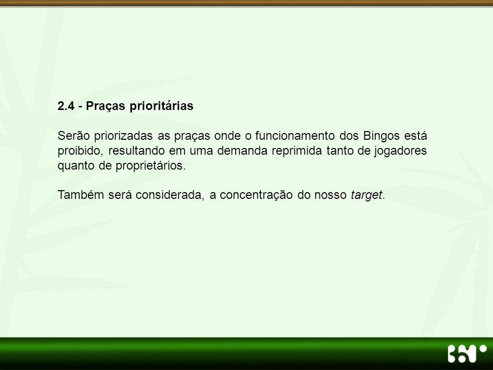 2.4 - Praças prioritárias Serão priorizadas as praças onde o funcionamento dos Bingos está proibido, resultando em uma demanda reprimida tanto de joga