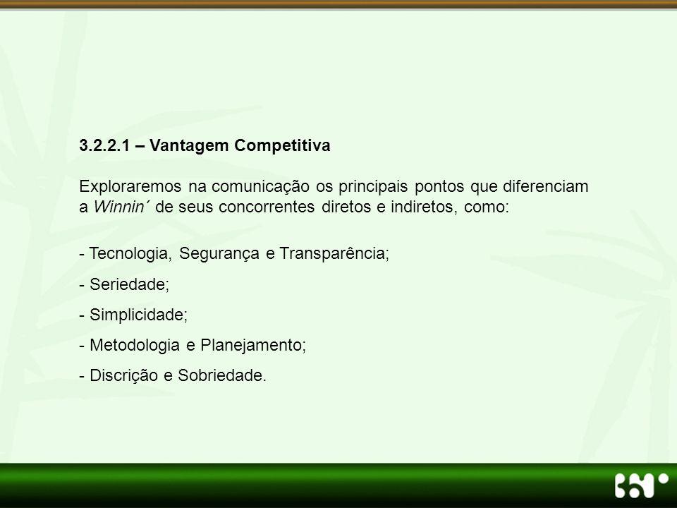 3.2.2.1 – Vantagem Competitiva Exploraremos na comunicação os principais pontos que diferenciam a Winnin´ de seus concorrentes diretos e indiretos, co