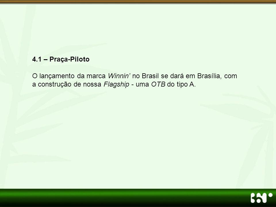 4.1 – Praça-Piloto O lançamento da marca Winnin' no Brasil se dará em Brasília, com a construção de nossa Flagship - uma OTB do tipo A.