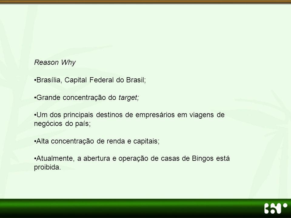 Reason Why •Brasília, Capital Federal do Brasil; •Grande concentração do target; •Um dos principais destinos de empresários em viagens de negócios do país; •Alta concentração de renda e capitais; •Atualmente, a abertura e operação de casas de Bingos está proibida.