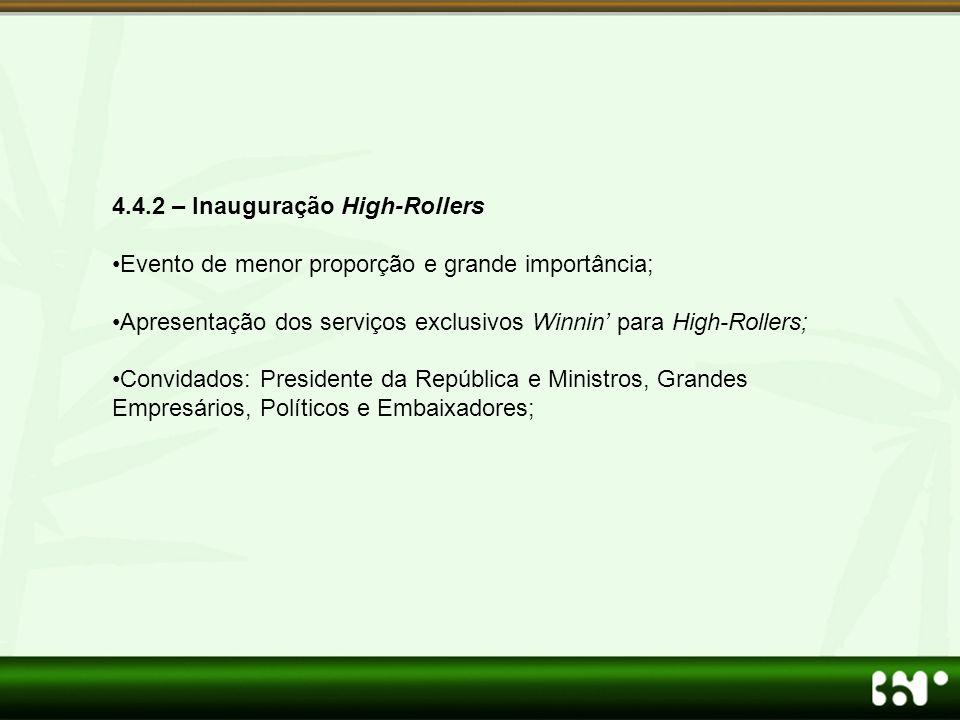4.4.2 – Inauguração High-Rollers •Evento de menor proporção e grande importância; •Apresentação dos serviços exclusivos Winnin' para High-Rollers; •Co