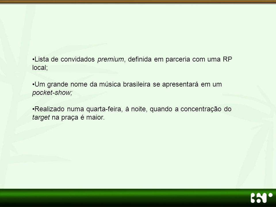 •Lista de convidados premium, definida em parceria com uma RP local; •Um grande nome da música brasileira se apresentará em um pocket-show; •Realizado numa quarta-feira, à noite, quando a concentração do target na praça é maior.