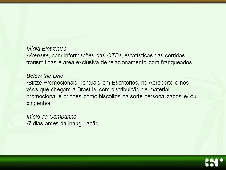 Mídia Eletrônica •Website, com informações das OTBs, estatísticas das corridas transmitidas e área exclusiva de relacionamento com franqueados.