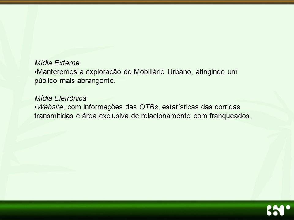 Mídia Externa •Manteremos a exploração do Mobiliário Urbano, atingindo um público mais abrangente. Mídia Eletrônica •Website, com informações das OTBs