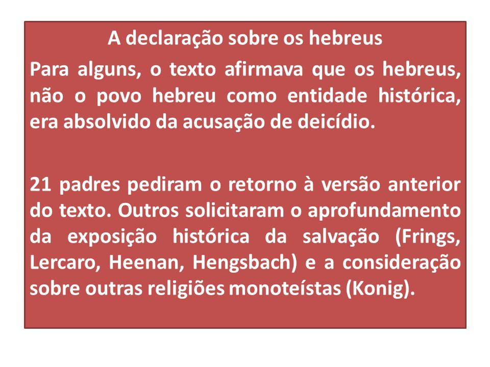 A declaração sobre os hebreus Para alguns, o texto afirmava que os hebreus, não o povo hebreu como entidade histórica, era absolvido da acusação de de
