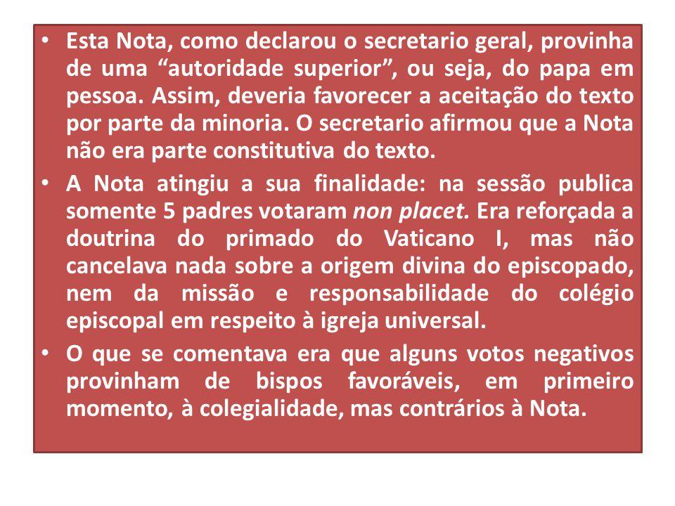 """• Esta Nota, como declarou o secretario geral, provinha de uma """"autoridade superior"""", ou seja, do papa em pessoa. Assim, deveria favorecer a aceitação"""