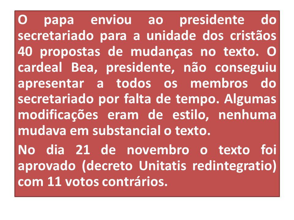 O papa enviou ao presidente do secretariado para a unidade dos cristãos 40 propostas de mudanças no texto. O cardeal Bea, presidente, não conseguiu ap