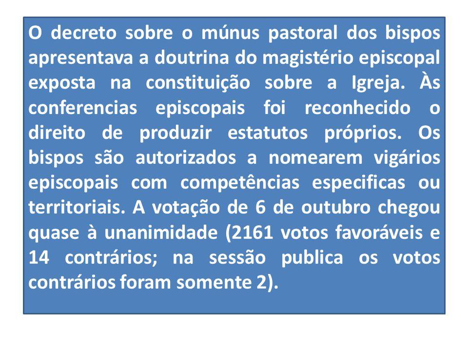 O decreto sobre o múnus pastoral dos bispos apresentava a doutrina do magistério episcopal exposta na constituição sobre a Igreja. Às conferencias epi