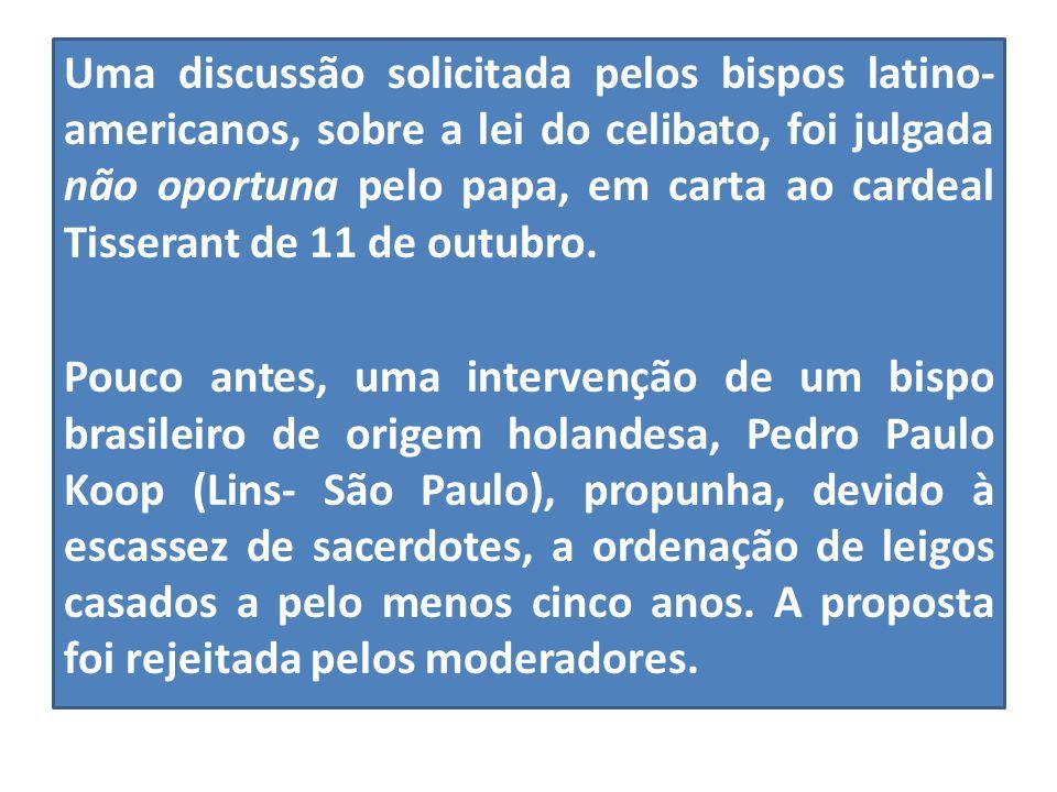 Uma discussão solicitada pelos bispos latino- americanos, sobre a lei do celibato, foi julgada não oportuna pelo papa, em carta ao cardeal Tisserant d
