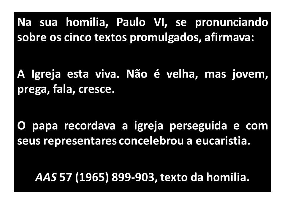 Na sua homilia, Paulo VI, se pronunciando sobre os cinco textos promulgados, afirmava: A Igreja esta viva. Não é velha, mas jovem, prega, fala, cresce