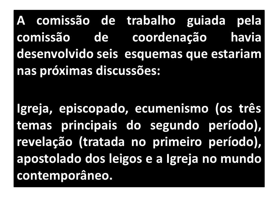 A comissão de trabalho guiada pela comissão de coordenação havia desenvolvido seis esquemas que estariam nas próximas discussões: Igreja, episcopado,
