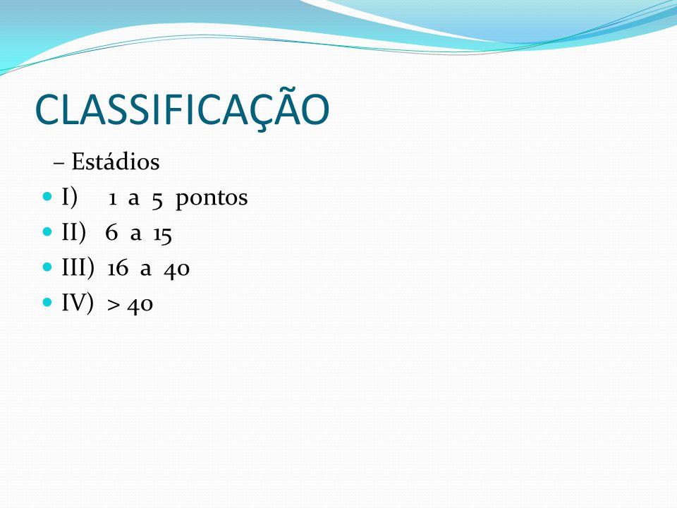 CLASSIFICAÇÃO – Estádios  I) 1 a 5 pontos  II) 6 a 15  III) 16 a 40  IV) > 40