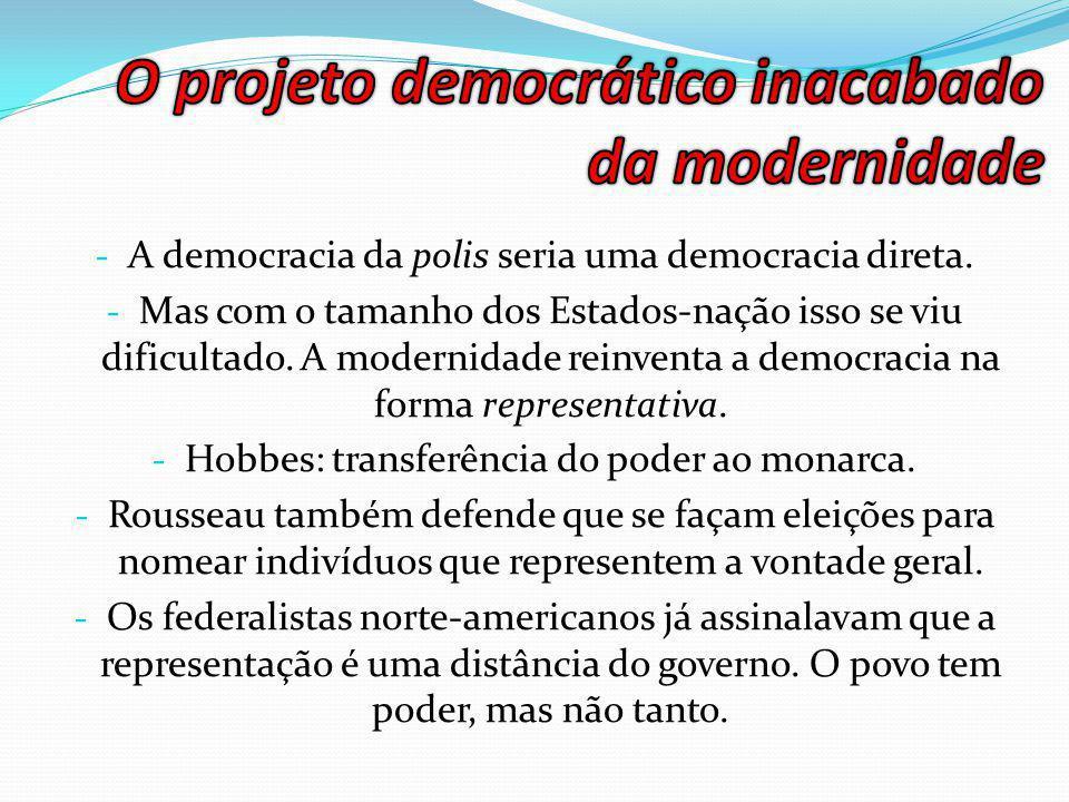 - A democracia da polis seria uma democracia direta.