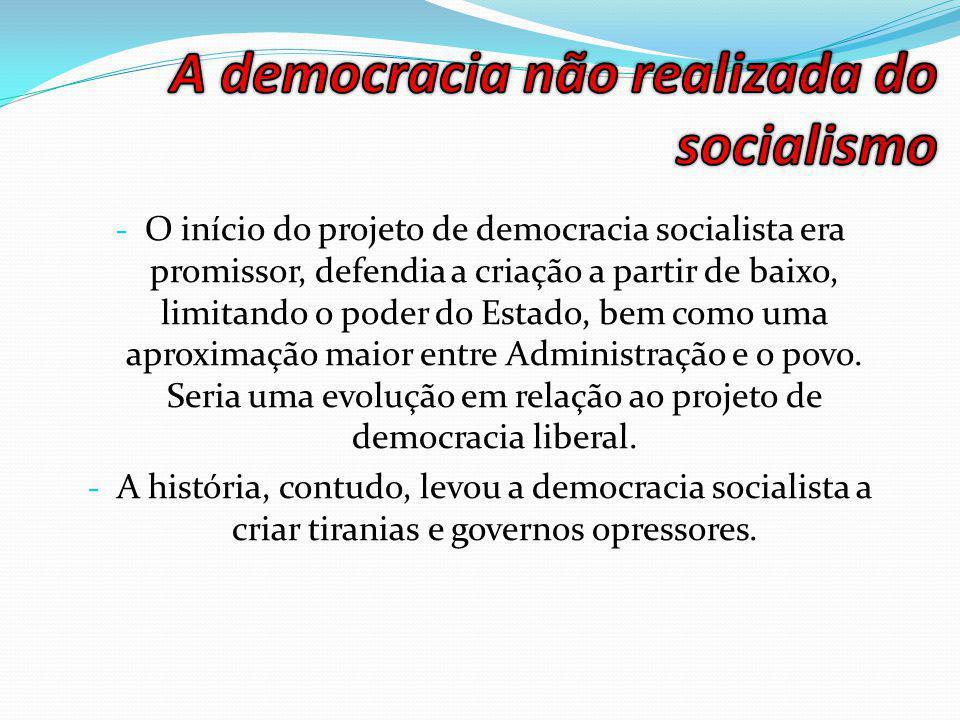 - O início do projeto de democracia socialista era promissor, defendia a criação a partir de baixo, limitando o poder do Estado, bem como uma aproximação maior entre Administração e o povo.