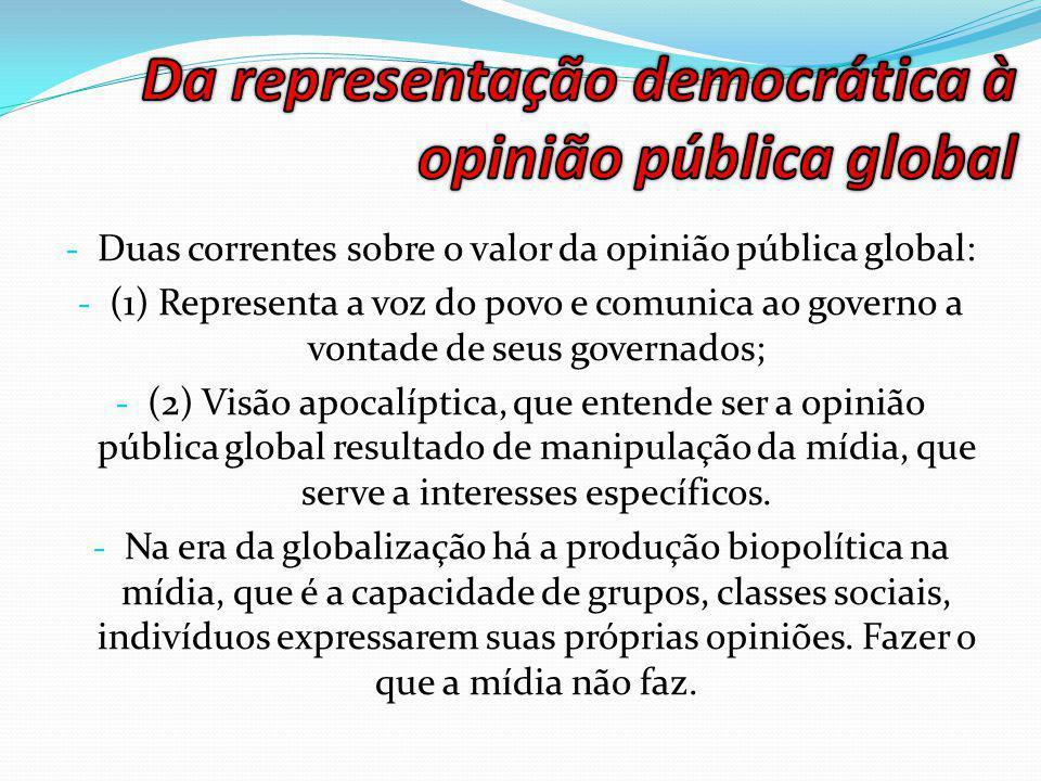 - Duas correntes sobre o valor da opinião pública global: - (1) Representa a voz do povo e comunica ao governo a vontade de seus governados; - (2) Visão apocalíptica, que entende ser a opinião pública global resultado de manipulação da mídia, que serve a interesses específicos.