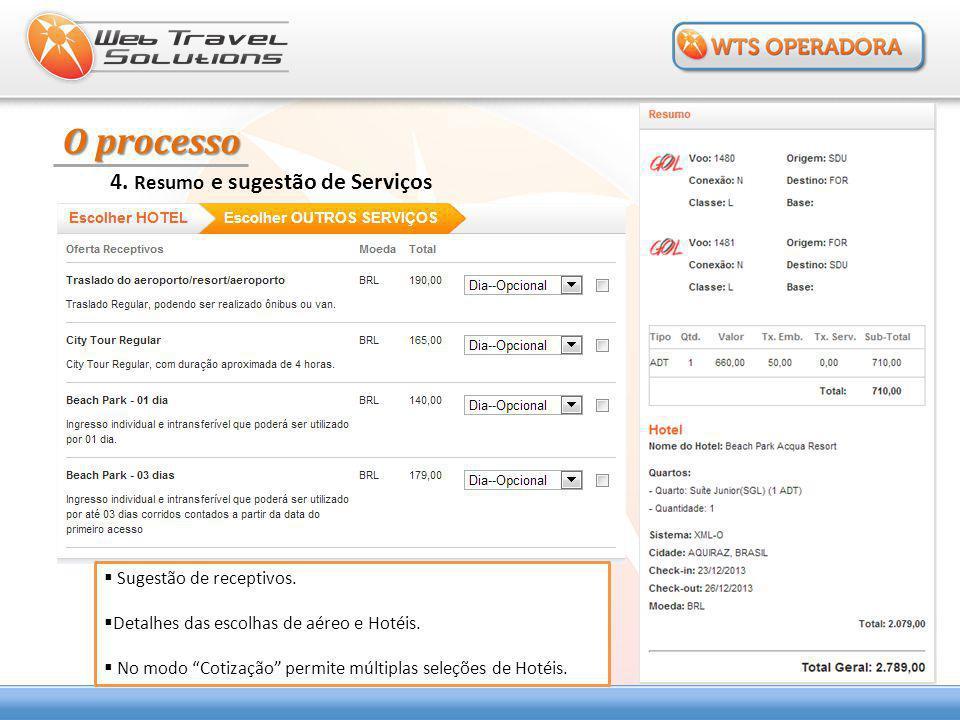 """O processo 4. Resumo e sugestão de Serviços  Sugestão de receptivos.  Detalhes das escolhas de aéreo e Hotéis.  No modo """"Cotização"""" permite múltipl"""