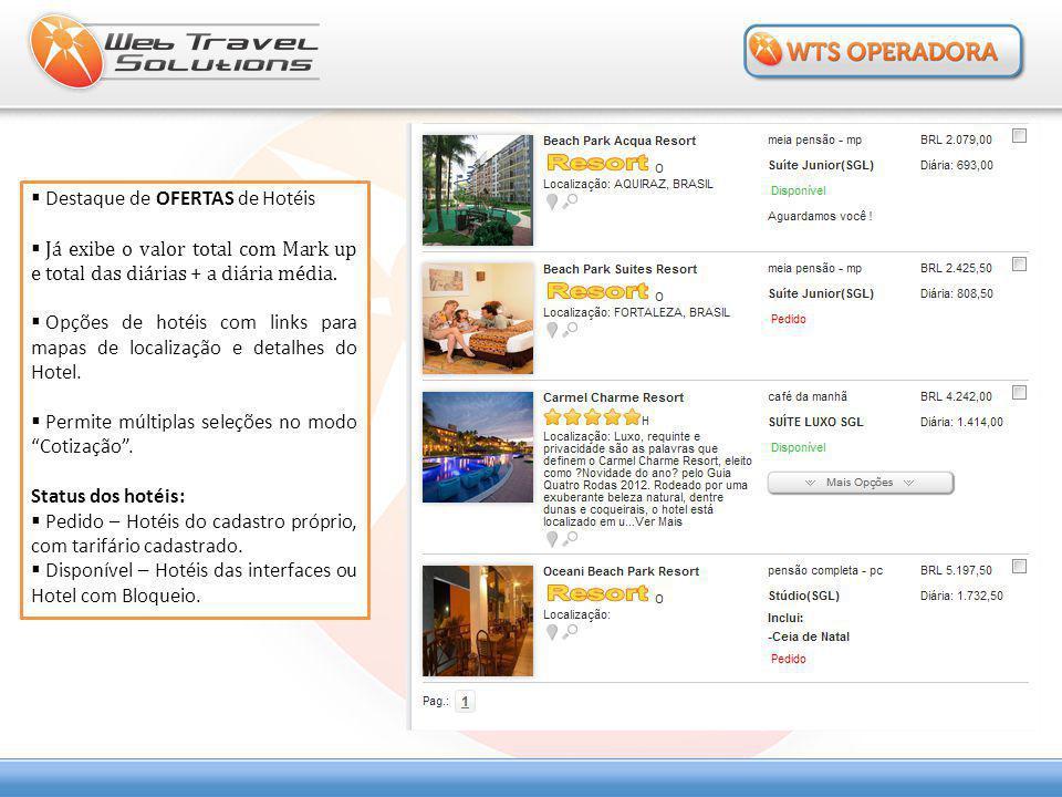  Destaque de OFERTAS de Hotéis  Já exibe o valor total com Mark up e total das diárias + a diária média.  Opções de hotéis com links para mapas de