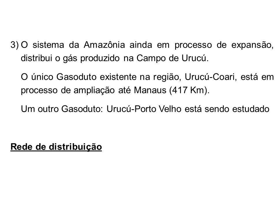 3)O sistema da Amazônia ainda em processo de expansão, distribui o gás produzido na Campo de Urucú.