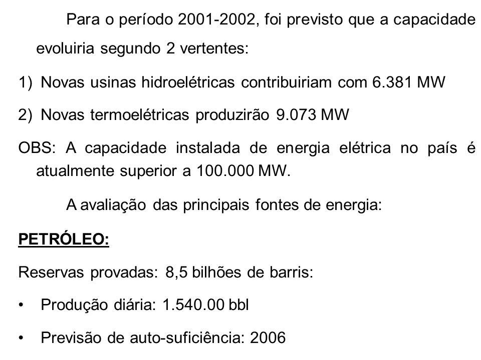 Para o período 2001-2002, foi previsto que a capacidade evoluiria segundo 2 vertentes: 1) Novas usinas hidroelétricas contribuiriam com 6.381 MW 2) Novas termoelétricas produzirão 9.073 MW OBS: A capacidade instalada de energia elétrica no país é atualmente superior a 100.000 MW.