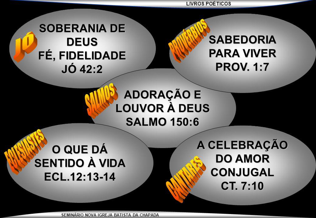 LIVROS POÉTICOS SEMINÁRIO NOVA IGREJA BATISTA DA CHAPADA SOBERANIA DE DEUS FÉ, FIDELIDADE JÓ 42:2 ADORAÇÃO E LOUVOR À DEUS SALMO 150:6 SABEDORIA PARA