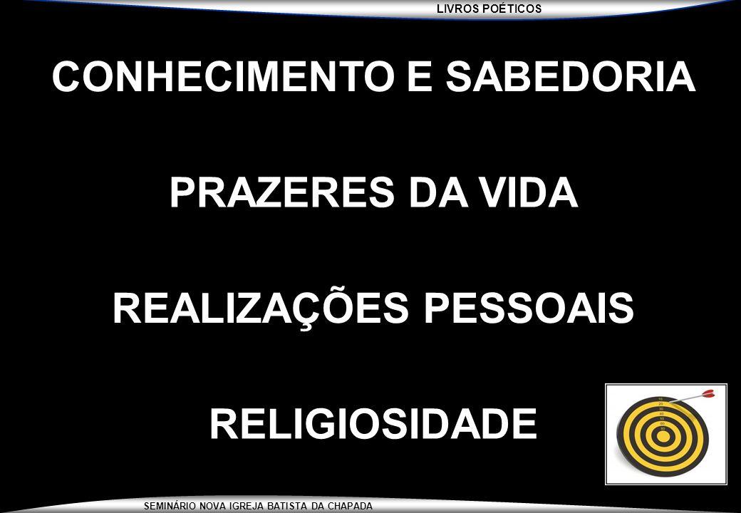 LIVROS POÉTICOS SEMINÁRIO NOVA IGREJA BATISTA DA CHAPADA CONHECIMENTO E SABEDORIA PRAZERES DA VIDA REALIZAÇÕES PESSOAIS RELIGIOSIDADE