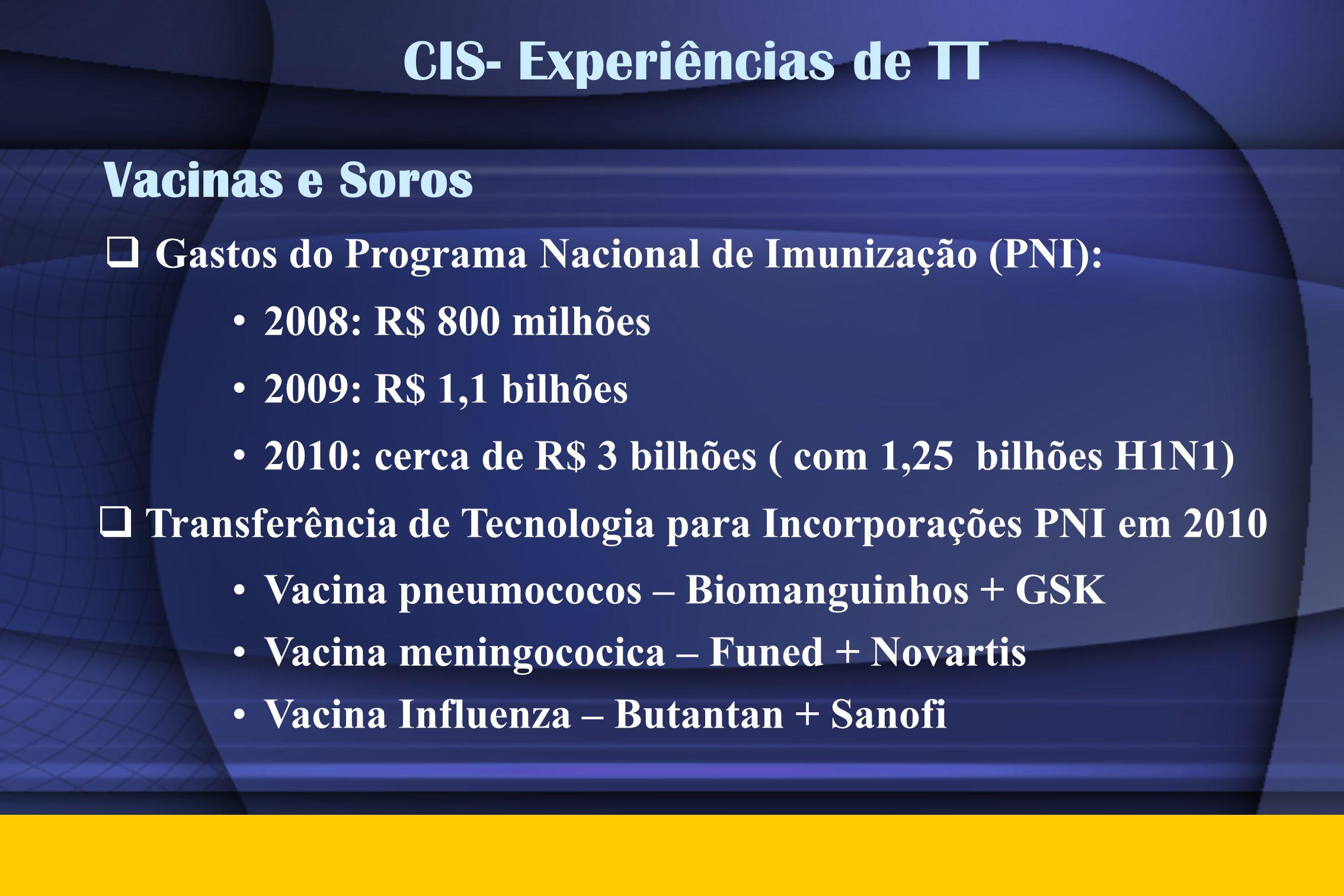 Vacinas e Soros  Gastos do Programa Nacional de Imunização (PNI): • 2008: R$ 800 milhões • 2009: R$ 1,1 bilhões • 2010: cerca de R$ 3 bilhões ( com 1