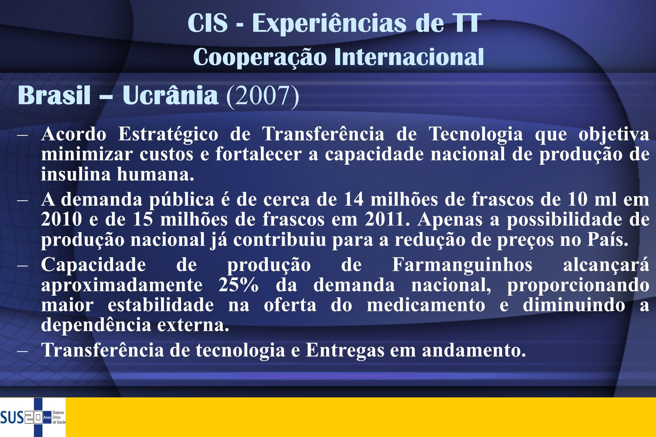 CIS - Experiências de TT Cooperação Internacional Brasil – Ucrânia (2007) –Acordo Estratégico de Transferência de Tecnologia que objetiva minimizar cu
