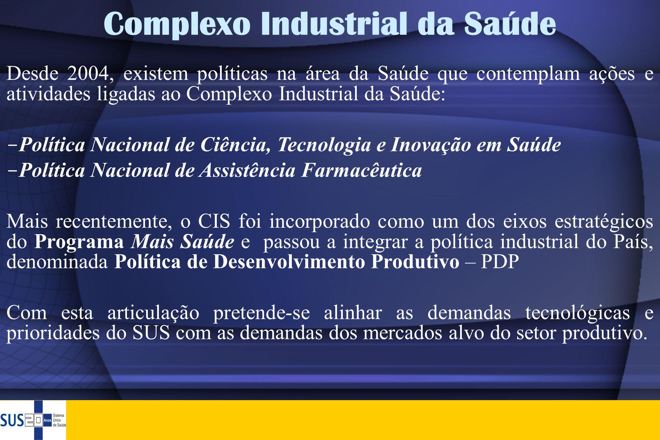 Complexo Industrial da Saúde Desde 2004, existem políticas na área da Saúde que contemplam ações e atividades ligadas ao Complexo Industrial da Saúde: