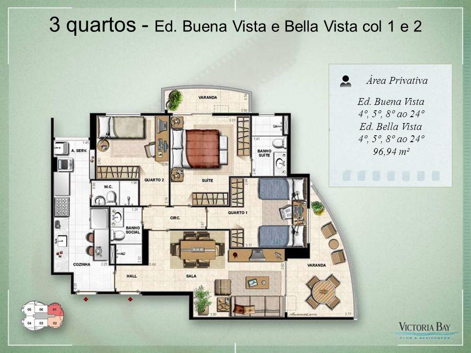 3 quartos - Ed.Buena Vista e Bella Vista col 1 e 2 Ed.