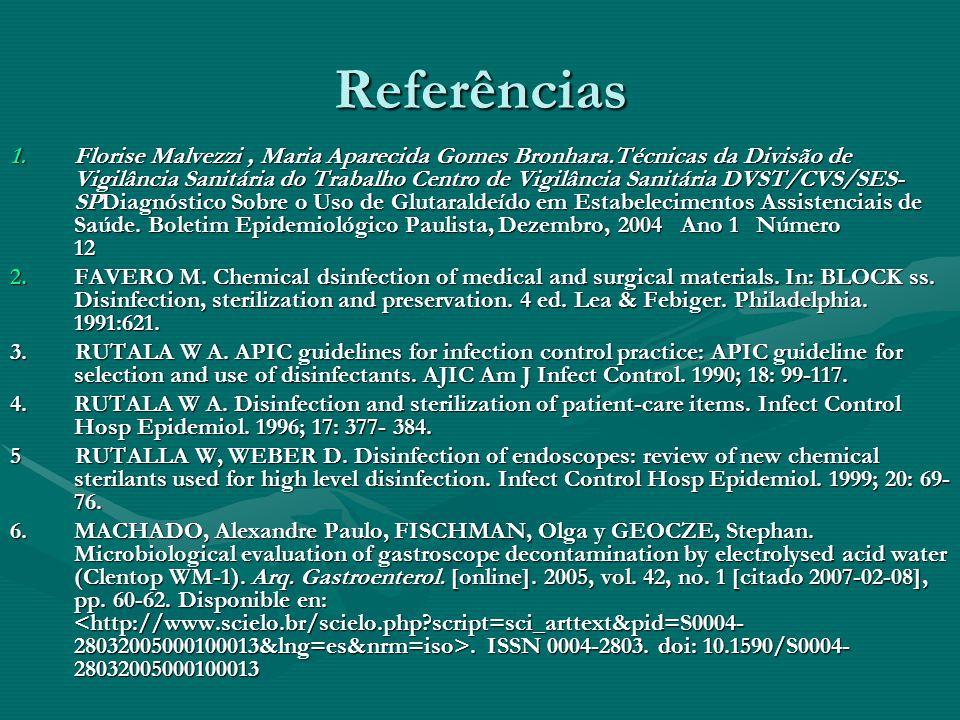 Referências 1.Florise Malvezzi, Maria Aparecida Gomes Bronhara.Técnicas da Divisão de Vigilância Sanitária do Trabalho Centro de Vigilância Sanitária