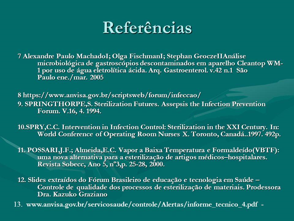 Referências 7 Alexandre Paulo MachadoI; Olga FischmanI; Stephan GeoczeIIAnálise microbiológica de gastroscópios descontaminados em aparelho Cleantop W