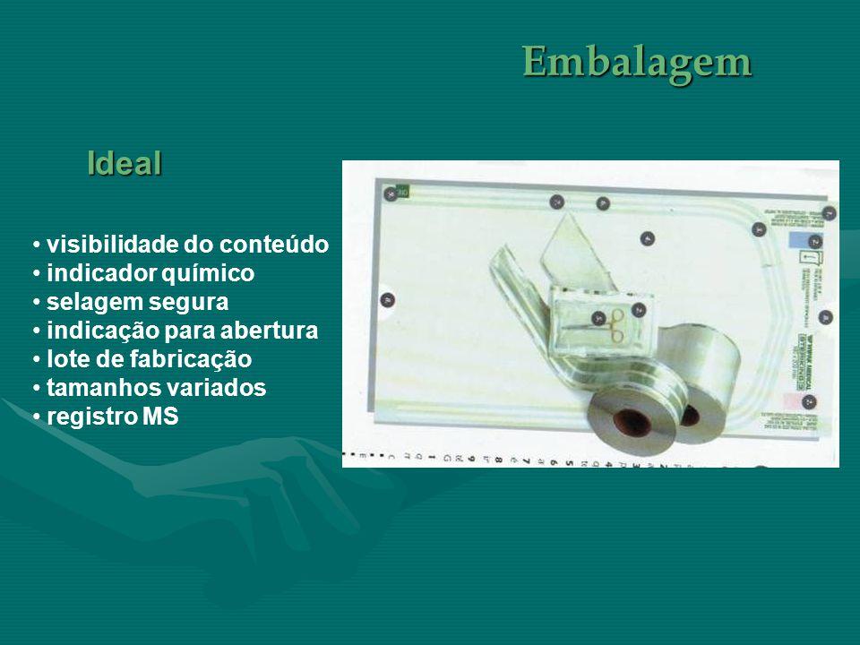 • visibilidade do conteúdo • indicador químico • selagem segura • indicação para abertura • lote de fabricação • tamanhos variados • registro MS Embal