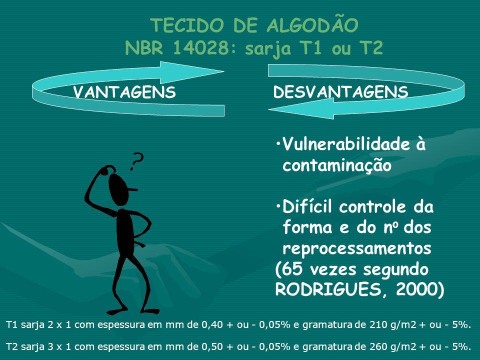 VANTAGENS DESVANTAGENS TECIDO DE ALGODÃO NBR 14028: sarja T1 ou T2 •Vulnerabilidade à contaminação •Difícil controle da forma e do n o dos reprocessam