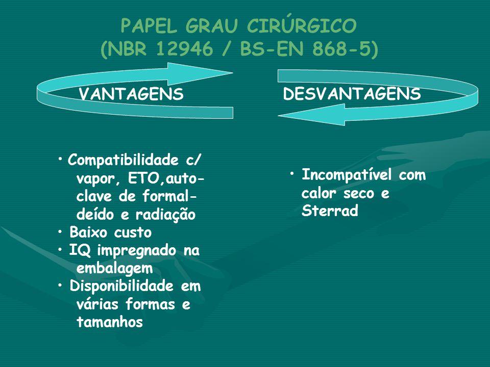 VANTAGENS DESVANTAGENS PAPEL GRAU CIRÚRGICO (NBR 12946 / BS-EN 868-5) • Compatibilidade c/ vapor, ETO,auto- clave de formal- deído e radiação • Baixo