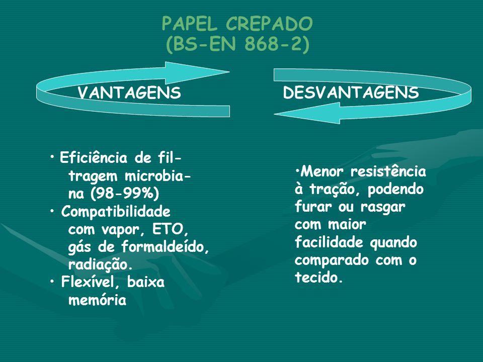 VANTAGENS DESVANTAGENS PAPEL CREPADO (BS-EN 868-2) • Eficiência de fil- tragem microbia- na (98-99%) • Compatibilidade com vapor, ETO, gás de formalde