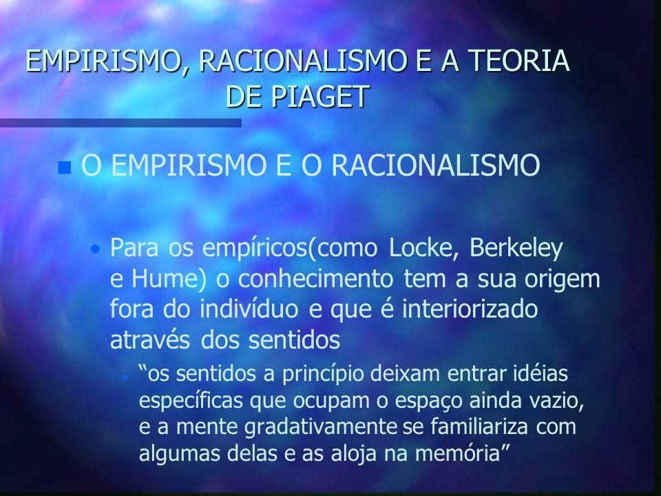 EMPIRISMO, RACIONALISMO E A TEORIA DE PIAGET n n O EMPIRISMO E O RACIONALISMO   Para os empíricos(como Locke, Berkeley e Hume) o conhecimento tem a