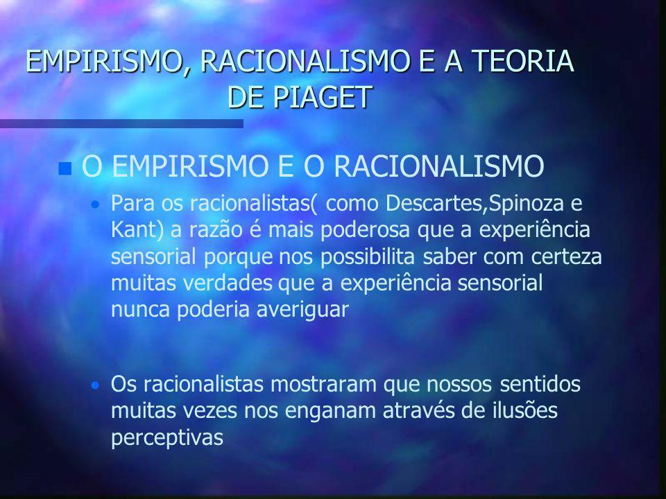 EMPIRISMO, RACIONALISMO E A TEORIA DE PIAGET n n O EMPIRISMO E O RACIONALISMO   Para os racionalistas:   A experiência sensorial não pode nos fornecer o conhecimento verdadeiro – –O poder da razão tem sua origem em alguns conhecimentos e conceitos inatos