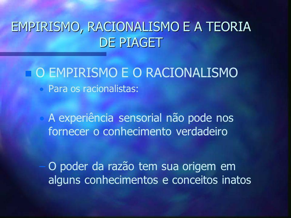 EMPIRISMO, RACIONALISMO E A TEORIA DE PIAGET n n O EMPIRISMO E O RACIONALISMO   Para os racionalistas:   A experiência sensorial não pode nos forn