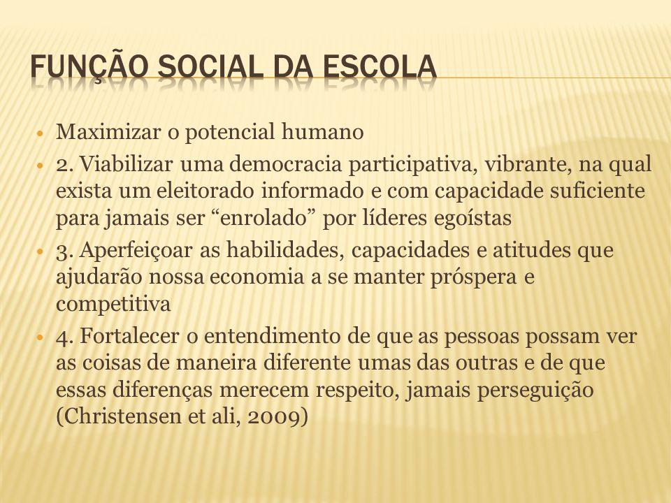  Maximizar o potencial humano  2. Viabilizar uma democracia participativa, vibrante, na qual exista um eleitorado informado e com capacidade suficie