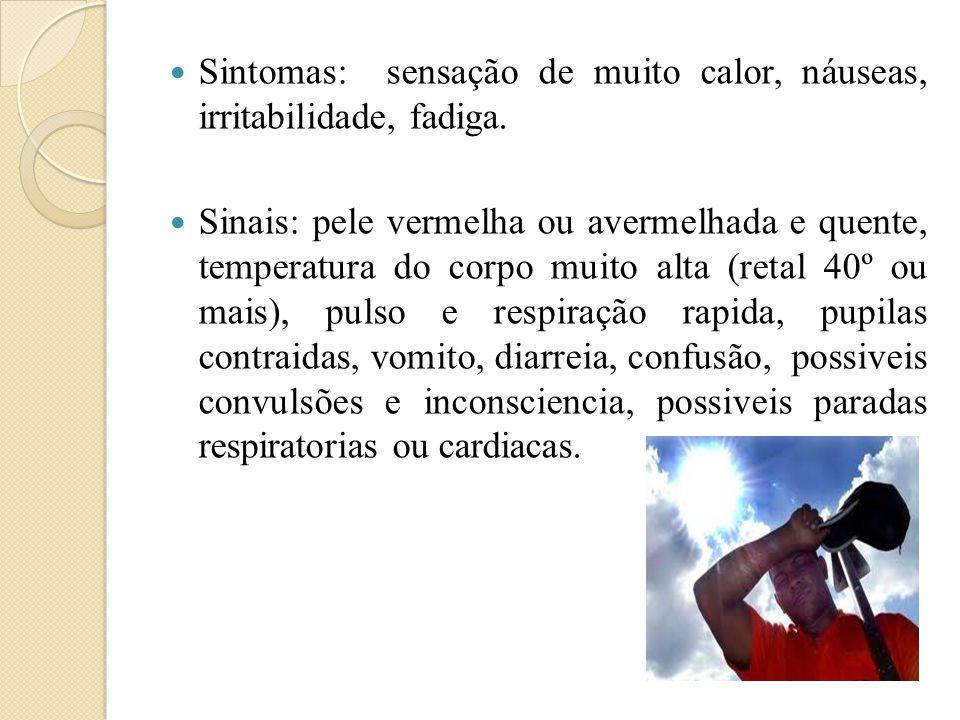  Sintomas: sensação de muito calor, náuseas, irritabilidade, fadiga.  Sinais: pele vermelha ou avermelhada e quente, temperatura do corpo muito alta