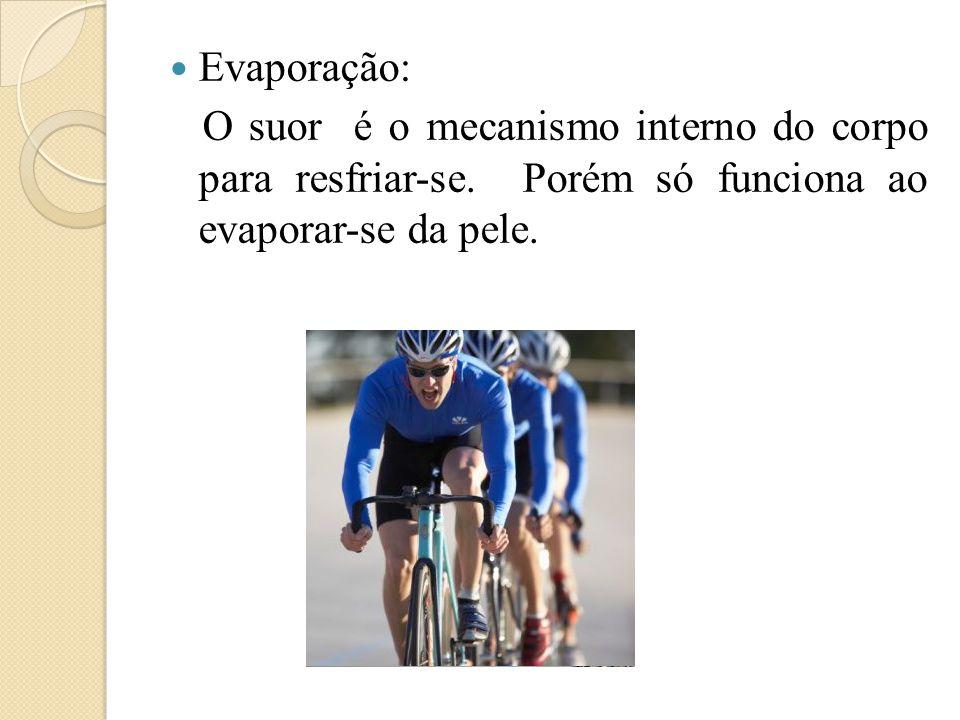  Evaporação: O suor é o mecanismo interno do corpo para resfriar-se. Porém só funciona ao evaporar-se da pele.