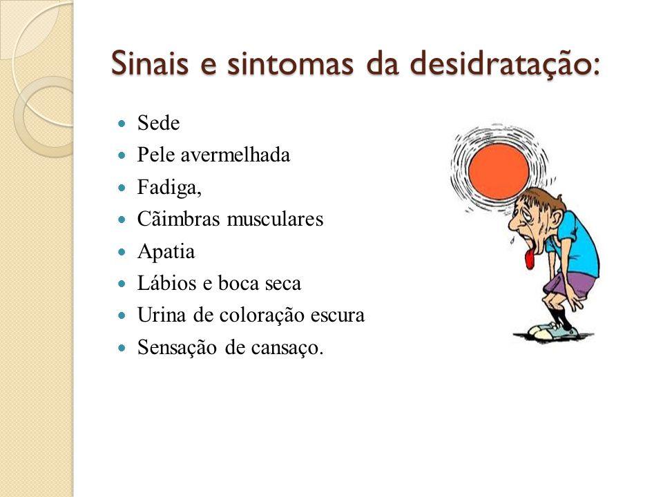 Sinais e sintomas da desidratação:  Sede  Pele avermelhada  Fadiga,  Cãimbras musculares  Apatia  Lábios e boca seca  Urina de coloração escura