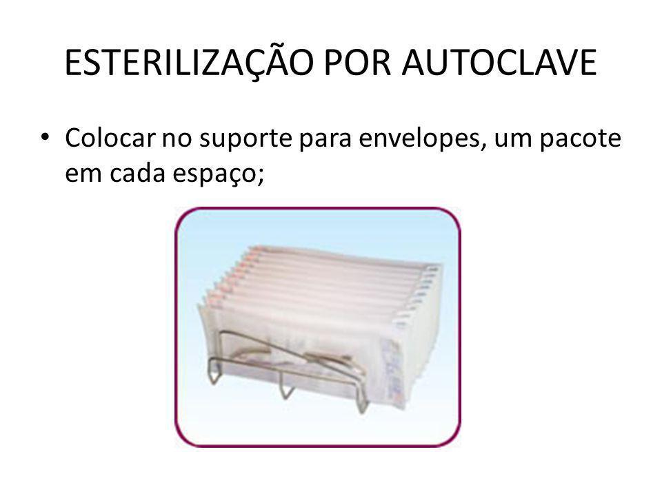 ESTERILIZAÇÃO POR AUTOCLAVE • Colocar no suporte para envelopes, um pacote em cada espaço;