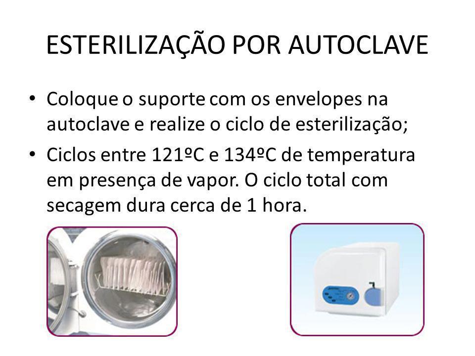 ESTERILIZAÇÃO POR AUTOCLAVE • Coloque o suporte com os envelopes na autoclave e realize o ciclo de esterilização; • Ciclos entre 121ºC e 134ºC de temp