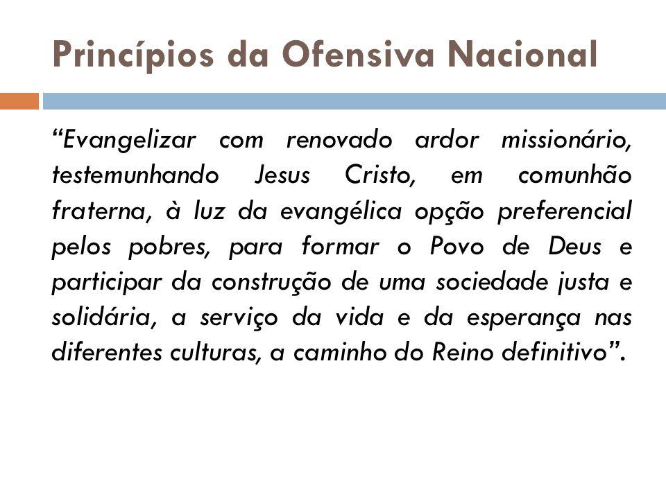 """Princípios da Ofensiva Nacional """"Evangelizar com renovado ardor missionário, testemunhando Jesus Cristo, em comunhão fraterna, à luz da evangélica opç"""