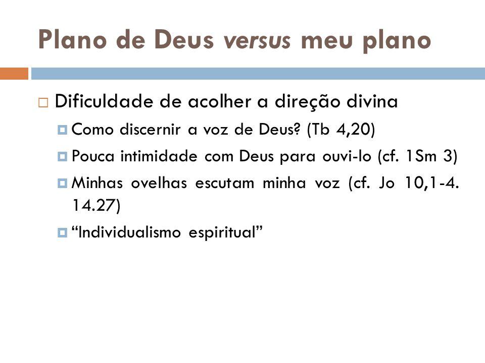 Plano de Deus versus meu plano  Dificuldade de acolher a direção divina  Como discernir a voz de Deus? (Tb 4,20)  Pouca intimidade com Deus para ou