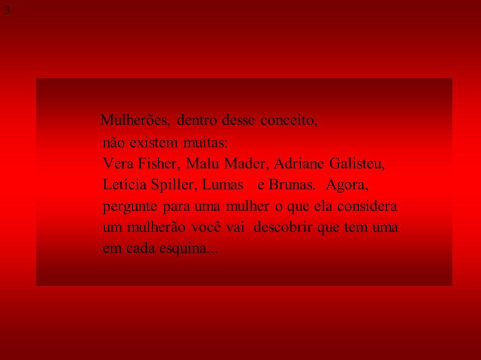 Mulherões, dentro desse conceito, não existem muitas: Vera Fisher, Malu Mader, Adriane Galisteu, Letícia Spiller, Lumas e Brunas.